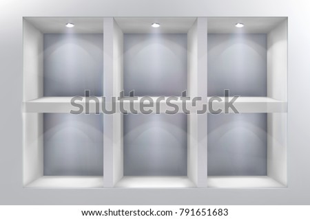 The shelves in shop window. Vector illustration.