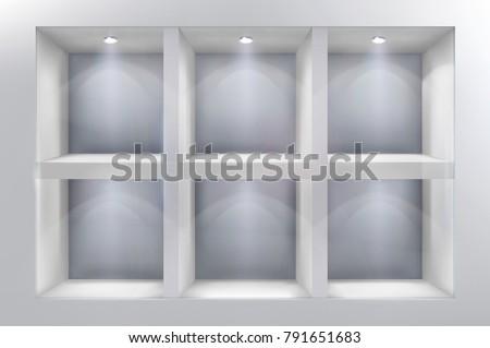 the shelves in shop window