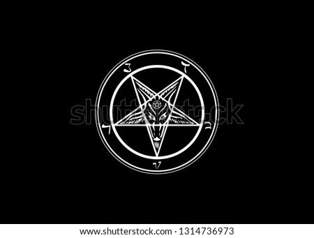 The Sigil of Baphomet original Goat Pentagram, vector isolated or black background