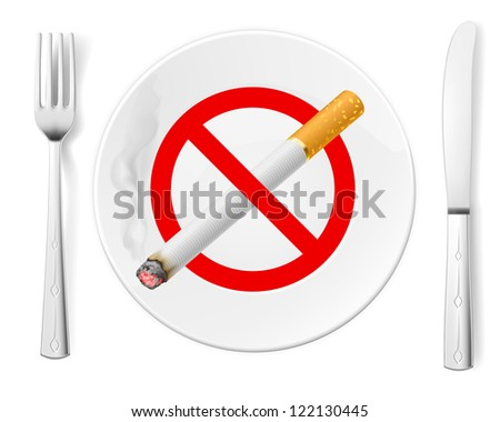 The sign No Smoking on a plate with fork and knife