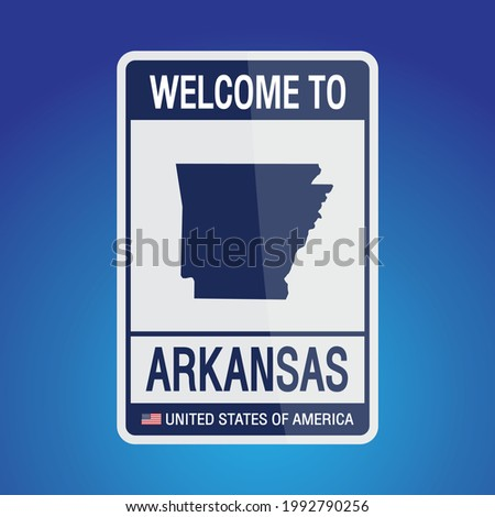 The Sign United states of America with  message, Arkansas and map on Blue Background vector art image illustration.