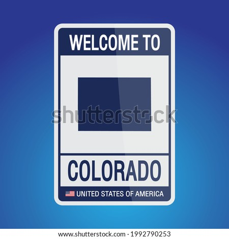The Sign United states of America with  message, Colorado and map on Blue Background vector art image illustration.