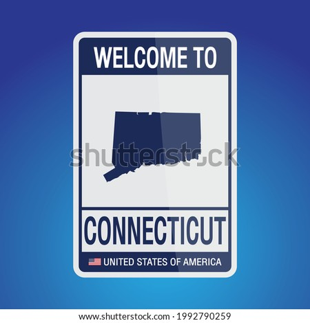 The Sign United states of America with  message, Connecticut and map on Blue Background vector art image illustration.