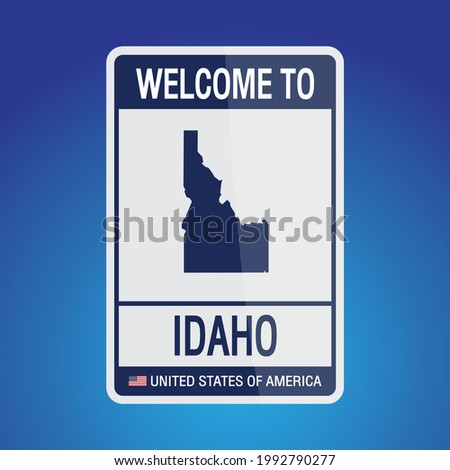 The Sign United states of America with message, Idaho and map on Blue Background vector art image illustration.