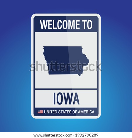 The Sign United states of America with message, Iowa and map on Blue Background vector art image illustration.