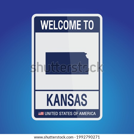The Sign United states of America with message, Kansas and map on Blue Background vector art image illustration.
