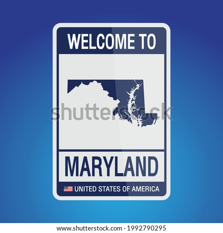 The Sign United states of America with message, Maryland and map on Blue Background vector art image illustration.