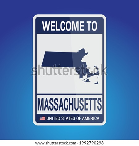 The Sign United states of America with  message, Massachusetts and map on Blue Background vector art image illustration.