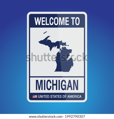 The Sign United states of America with  message, michigan and map on Blue Background vector art image illustration.