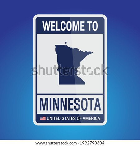 The Sign United states of America with  message, Minnesota and map on Blue Background vector art image illustration.
