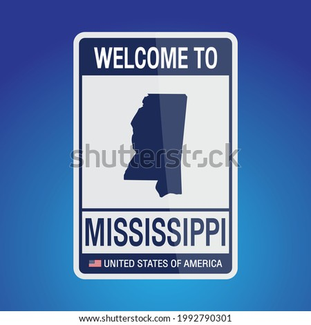 The Sign United states of America with message, Mississippi and map on Blue Background vector art image illustration.