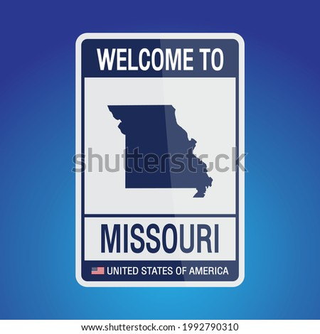 The Sign United states of America with message, Missouri and map on Blue Background vector art image illustration.