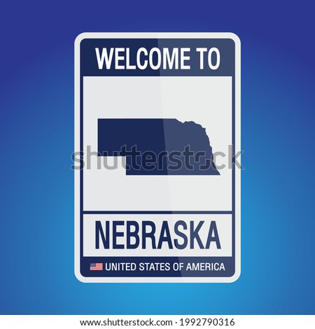 The Sign United states of America with message, Nebraska and map on Blue Background vector art image illustration.
