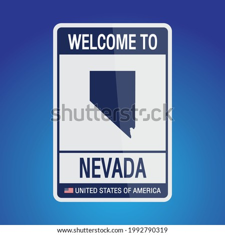 The Sign United states of America with message, Nevada and map on Blue Background vector art image illustration.