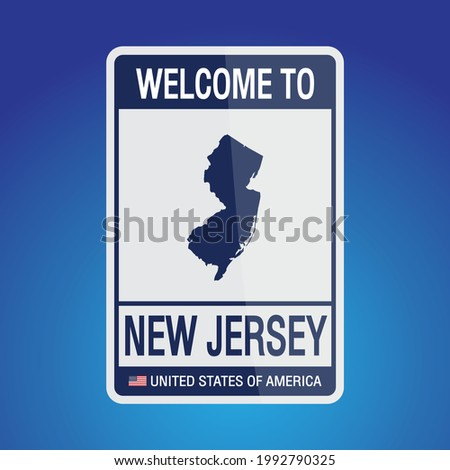 The Sign United states of America with message, New Jersey and map on Blue Background vector art image illustration.