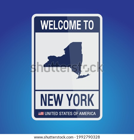 The Sign United states of America with message, New York and map on Blue Background vector art image illustration.