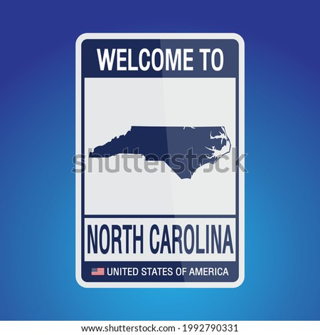 The Sign United states of America with message, North Carolina and map on Blue Background vector art image illustration.