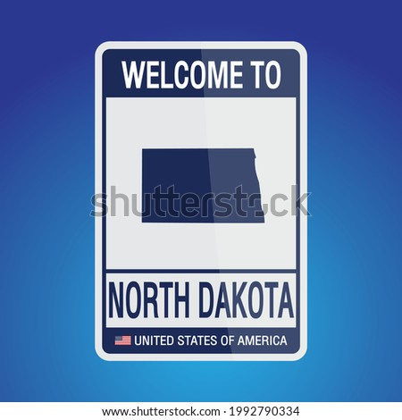The Sign United states of America with message, North Dakota and map on Blue Background vector art image illustration.