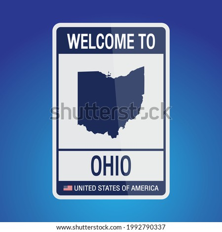 The Sign United states of America with  message, Ohio and map on Blue Background vector art image illustration.
