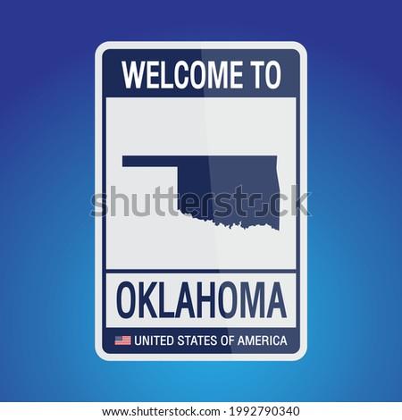 The Sign United states of America with  message, Oklahoma and map on Blue Background vector art image illustration.