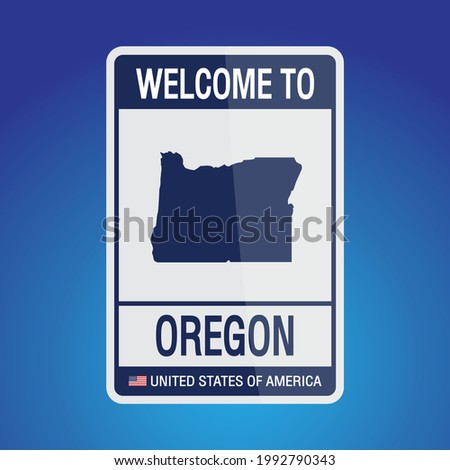 The Sign United states of America with  message, Oregon and map on Blue Background vector art image illustration.