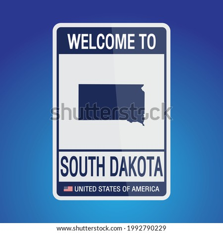 The Sign United states of America with  message, South Dakota and map on Blue Background vector art image illustration.