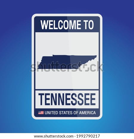 The Sign United states of America with  message, Tennessee and map on Blue Background vector art image illustration.