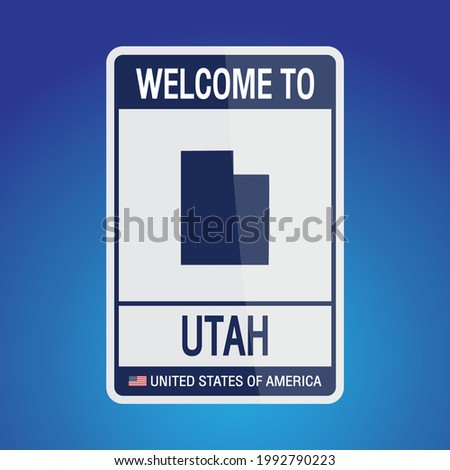 The Sign United states of America with  message, Utah and map on Blue Background vector art image illustration.