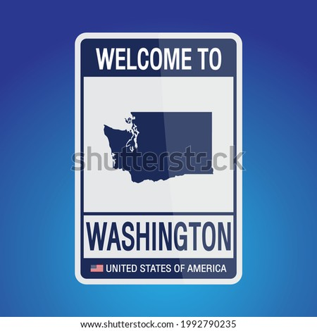 The Sign United states of America with  message, Washington and map on Blue Background vector art image illustration.