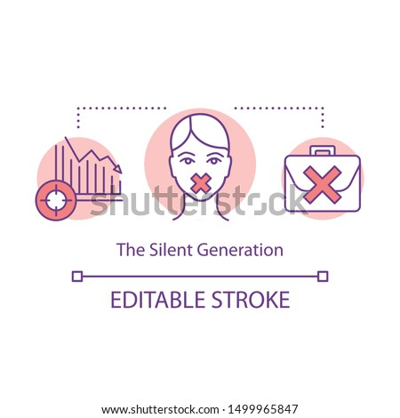 The Silent Generation concept icon. Speechless girl, falling chart, briefcase. Gender inequality. Harassment at workplace idea thin line illustration. Vector isolated outline drawing. Editable stroke
