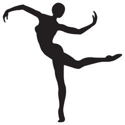 The silhouette of a girl athlete in black. Design suitable for dancing emblem, logo for fitness, yoga, gymnastics, ballet on a white isolated background .Vector illustration