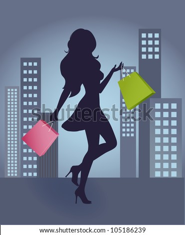 The silhouette of a girl with shopping bags