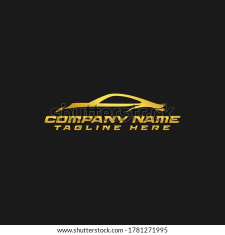 The Silhouette of a Gold Sports Car from Germany which is famous for its black background