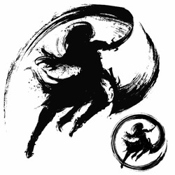 The silhouette of a ninja with two daggers in an epic jump pose, makes a cut with splashes in the air, with an ink trail. 2D illustration.