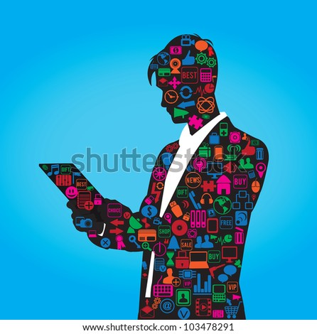 the silhouette of businessman with set of social media symbols - vector illustration