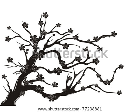 Plum Blossom Tree Background Vector Download Free Vector Art