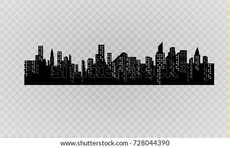 the silhouette of the city in a