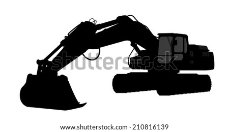 The silhouette of the excavate on a white background