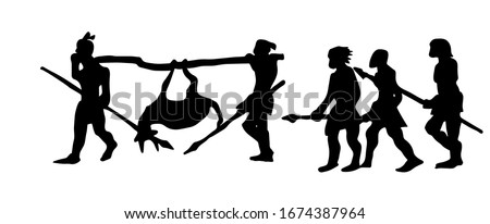 The silhouette of the natives on the hunt. Vector illustration.