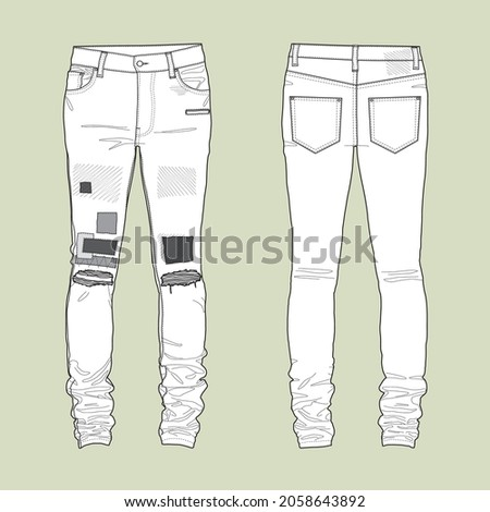 The silhouette of the skinny patchwork jeans.