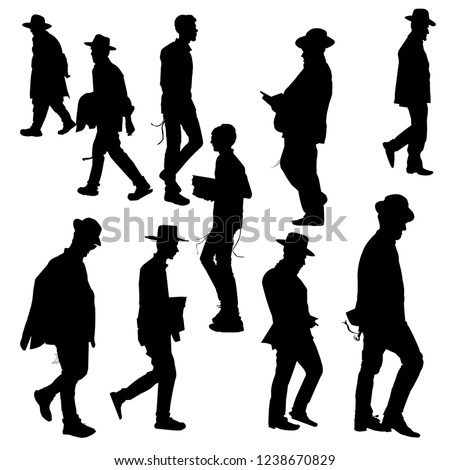 The silhouettes of the Jews in the hat. Collection of silhouettes of Orthodox Jews. Orthodoxy is a Jew. Isolated vector illustration. Isolated background. Black on white. ストックフォト ©