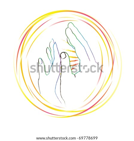 The sketch: contours of hands drawn by a brush.Man's hand near to female, as heat, love and protection symbol. Vector illustration.