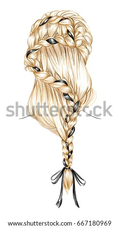 the sketch of a braid hairstyle
