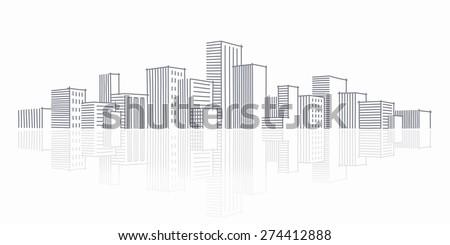 the sketch of a city skyline