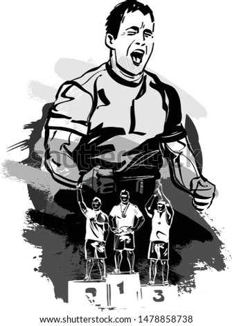 the sketch of athletes winners endurance competition