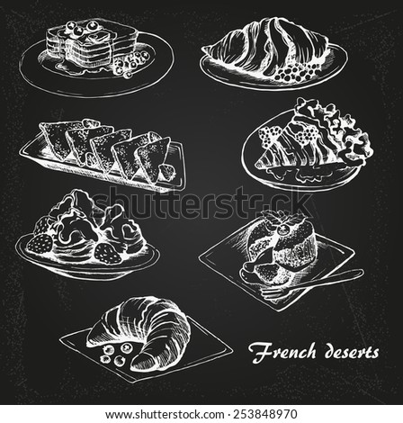 the sketch of french desserts