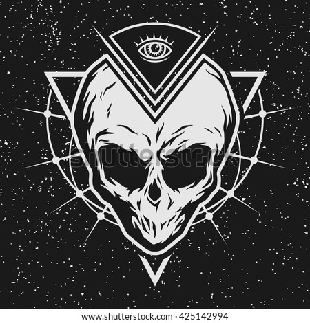the skull is an alien and all
