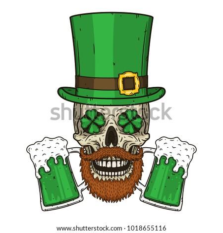 The skull of Saint Patrick's with green hat, glass beer and clover leaves. Irish skull. St.Patrick skull vector