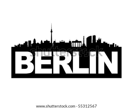 The skyline of Germany's capital Berlin with the city's name on it's base. This vector-illustration is black and white and isolated.