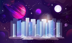 The skyscraper city center is flying in outer space. All around the downtown there are different planets, stars, asteroid rain, milky way, moon. Vector graphic illustration.